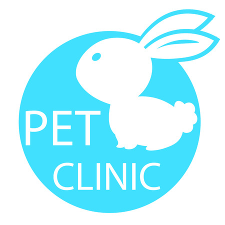 urgently: rabbit mark the veterinary clinic, pet health, web icon white silhouette on blue background. vector illustration, medical sign