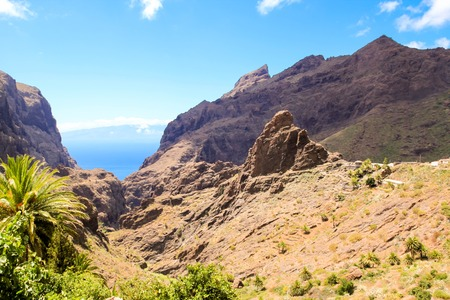 Mountain landscape tropical island Tenerife, Canary in Spain. Gorge trekking view from Masca Valley.