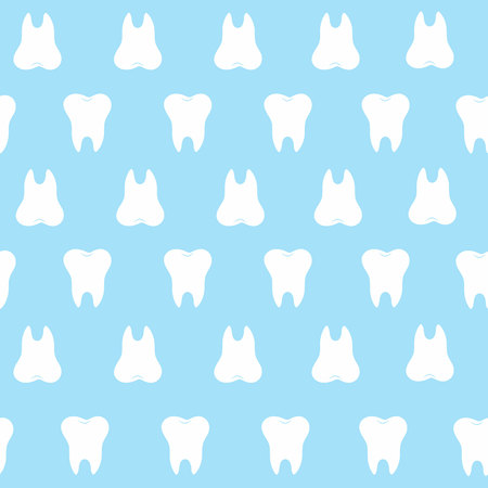 oral health: simple cartoon tooth pattern hite silhouette on a blue background, teeth, vector illustration icon, logo first tooth. Medical dental office symbols. Care the oral cavity, dental health