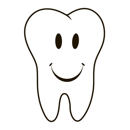 oral cavity: simple cartoon tooth smiling white silhouette on blue background, teeth, vector illustration icon, logo first tooth. Medical dental office symbols. Care oral cavity, dental health, care, hospital Illustration
