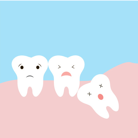 Problems caused by impacted wisdom teeth include. Sleepy tooth of impacted tooth. dystopic teeth. funny cartoon illustration of the emotions of the teeth, children information in dentistry