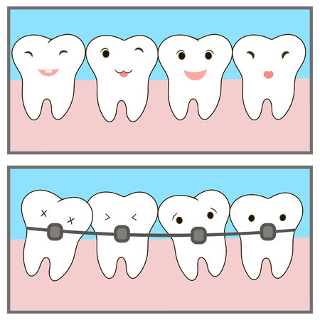 Braces teeth icon painting line applications websites. Crowding teeth, dental concept. Comics about orthodontic treatment. illustration children dentistry. Cute characters. funny emotions