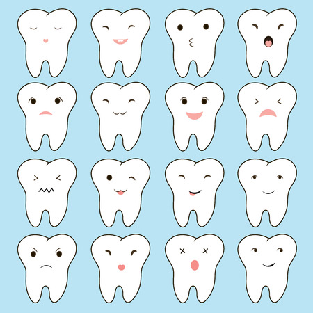 Teeth bad company. Concept of problematic teeth. Funny vector illustration. emotions teeth to educate children about the care and treatment the teeth Illustration