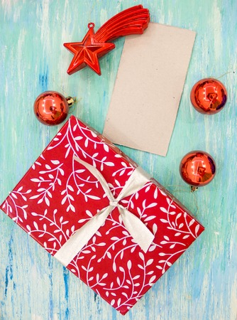 christmas card red gift box with silver ribbon party invitation corporate event decoration turquoise shabby