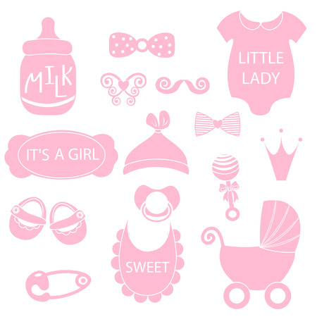 nappy: illustration of cute baby girl icons like nappy pins, pacifier and baby toys. Illustration