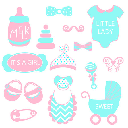 nappy: illustration of cute baby girl icons like nappy pins, pacifier and baby toys. pink silhouette Hipster photo booth