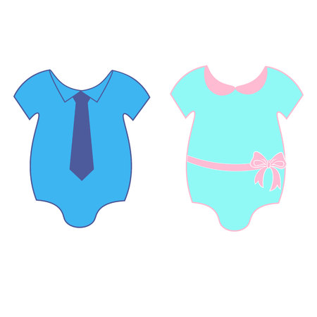 Baby clothes icons. Boy and girl clothes. Newborn clothing. Baby bodysuit. Baby body icon. Baby clothing isolated icons on white background.