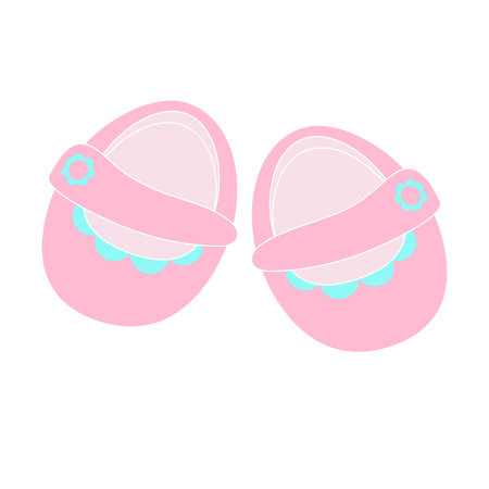 keds: Childrens shoes icon isolated cute pink booties for girls