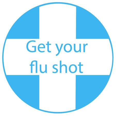flu vaccine: Get your flu shot vaccine sign badge blue syringe injection icon. illustration. Illustration