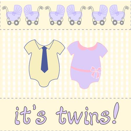 playfulness: for baby shower or birthday, invitation card. two bodysuits newborn twins. twins inscription.