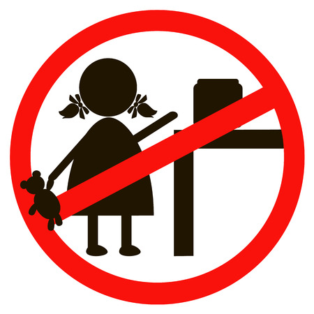 Stop or ban sign with child icon isolated on white background. Children are prohibited illustration. Kid is not allowed image. Babies are banned.