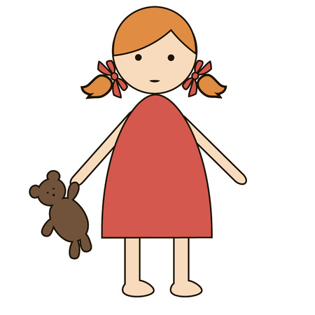 only baby girls: Cute cartoon baby girl isolated on a white background Illustration