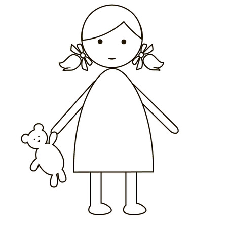 only baby girls: Cute cartoon baby girl isolated on white background. simple flat design