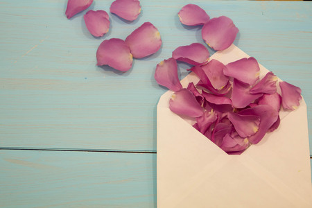 old envelope: Old envelope with blank paper dried rose petals