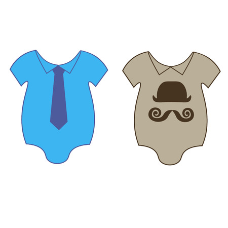 for boys: The illustration with baby bodies with tie and hat for boys, twins images