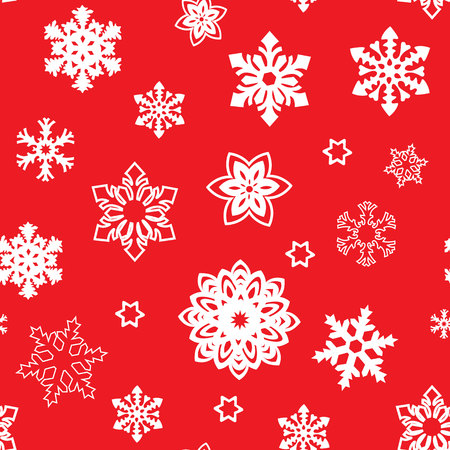 Red seamless pattern with snowflake and dots. Endless winter background. Classic retro style. Illustration