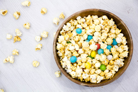Air salty popcorn Delicious Sweet Popcorn With Colorful Candies Sprinkles