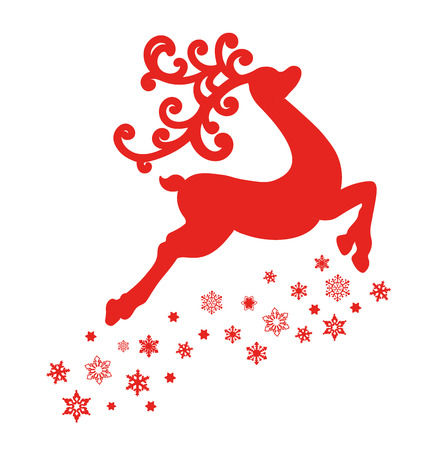 illustration of red reindeer isolated on white