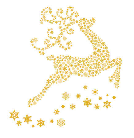 gold Christmas Reindeer and snowflakes. Vector illustration silhouette isolated white background