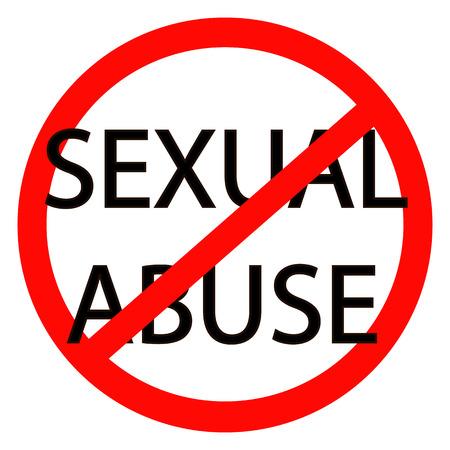 Pare el abuso sexual Vector signo de stop rojo Foto de archivo - 75802301