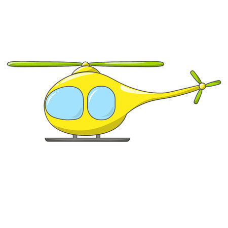 Funny cartoon Vector illustration of flat helicopter. yellow and green