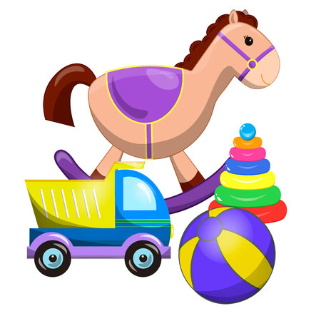 pull along: toys collection isolated on white background. Pile of toys isolated on white. vector illustration cartoon clipart. set of different cartoon vector toys. Cute toy horse, pyramid, ball, car