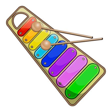 Kids rainbow xylophone vector illustration. Illustration