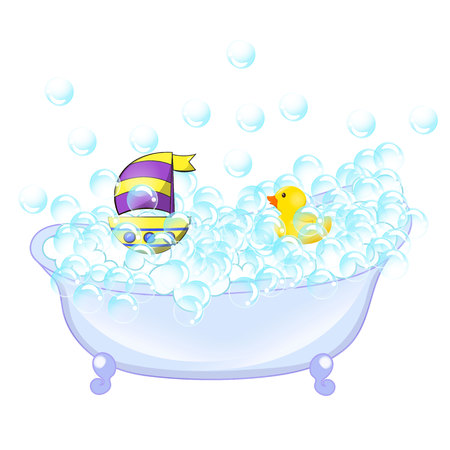 Retro Bathroom interior. Bathtub with foam bubbles inside and bath yellow rubber duck and boat ion wall background. Illustration
