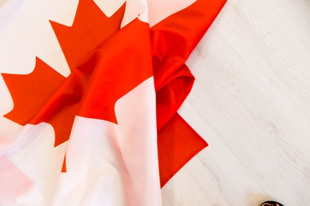 Canada flag in the old retro background effect, close up