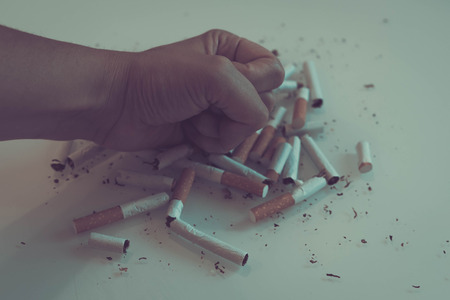 broken scattered cigarettes, tobacco, close-up on a black background. Top view with copy space, flat lay. STOP Smoking. World no tobacco day.