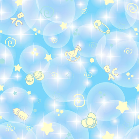 Seamless Blue Baby Background for Baby Shower Illustration
