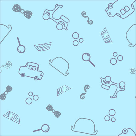 naadloze baby achtergrond. kleine gentelment, auto's, hoed, vlinder, schattige peuter illustratie.