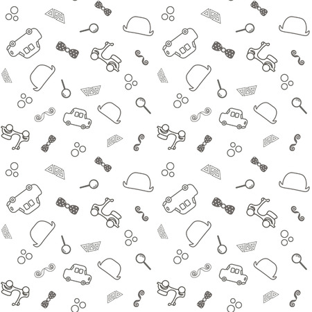 seamless baby background. small gentelment, cars, hat, butterfly, cute toddler illustration. Stock Illustratie