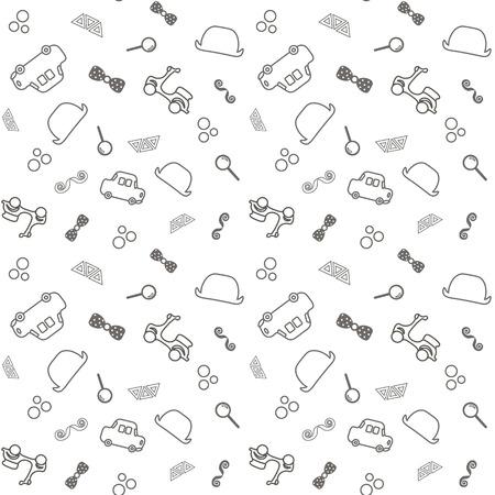 Naadloze baby achtergrond. kleine gentelment, auto's, hoed, vlinder, schattige peuter illustratie. Stockfoto - 93857750