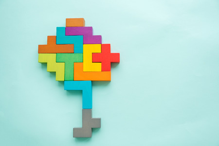 Human brain model is made of multi-colored wooden blocks. Creative medical or business concept. Brainstorm concept. head silhouette mental health symbol. Childrens educational