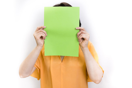 Anonymous business woman holding a question mark Stock Photo