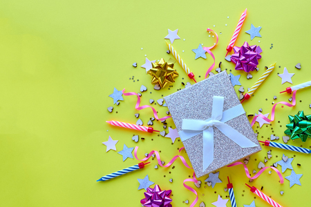 yellow background, the concept of party time, an invitation to a birthday or other celebration