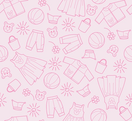toys pattern: The pink background from silhouettes of children dress Illustration
