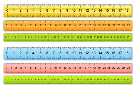 De zes gekleurde linialen Vector Illustratie