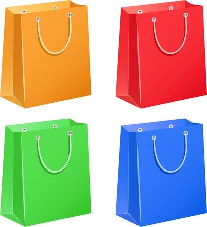 Les sacs en papier quatre couleur