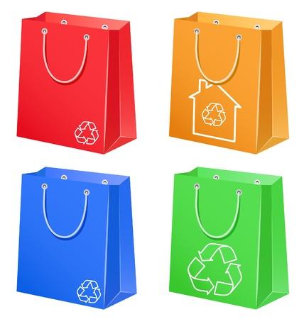Les sacs de couleur avec le symbole éco