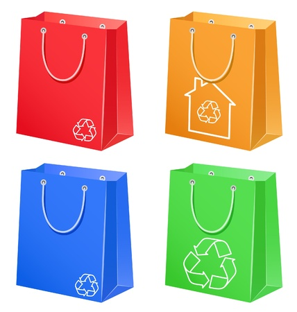 The color bags with eco symbol Stock Vector - 10436344