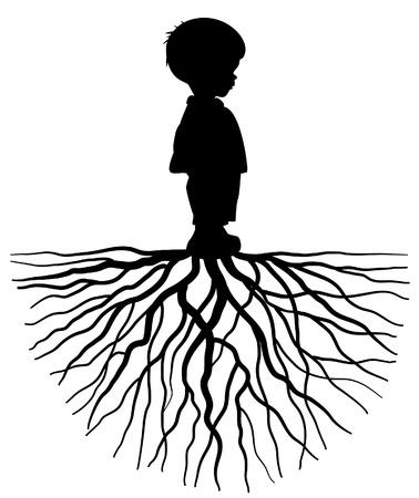racines: La silhouette d'un enfant avec la racine