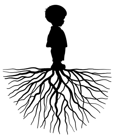 La silueta de un niño con raíces