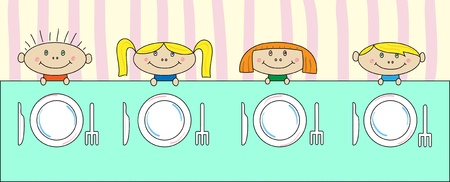 Children at the table   Vector