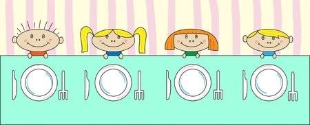 familia animada: Niños en la mesa