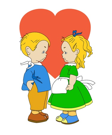 dear: The boy and the girl cost opposite. Around of them heart.