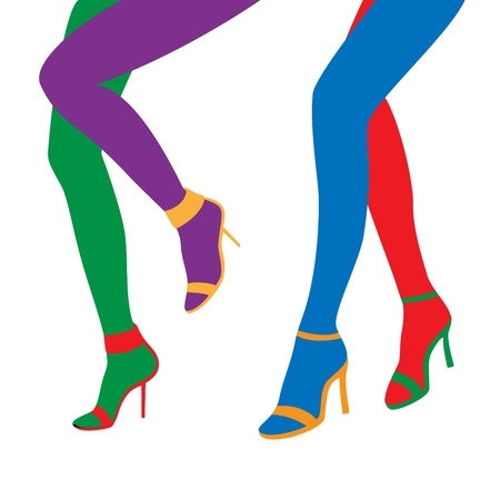 The silhouett of a color female legs Vector