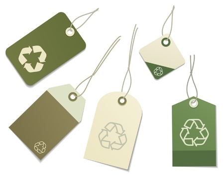 The five labels with eco symbol Vector