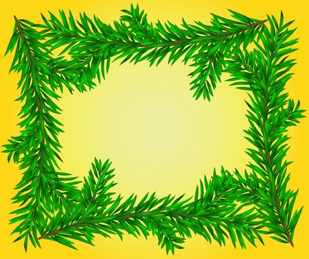 The fir-tree branch frame on the yellow background Stock Vector - 10436464